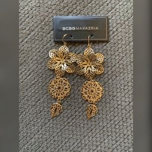 BCBC Maxazria Gold Floral Earrings